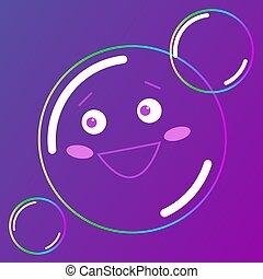 roze, backgroubd, illustration., zeep, gezicht, vector, het glimlachen, bellen