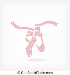 roze, ballet, pointes., symbool, dans studio