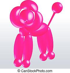 roze, balloon, poedel