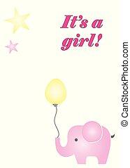 roze, balloon, vector, vasthouden, elefant, meisje, zijn, kaart
