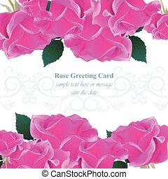 roze, beauty, uitnodiging, fuchsia, flowers., rozen, kleuren, vector., huwlijkskaart