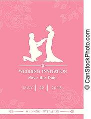 roze, beeld, uitnodiging, rozen, vector, achtergrond, trouwfeest, datum, sparen