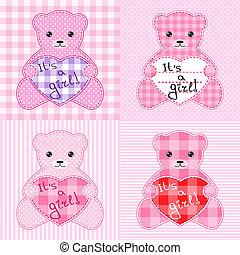 roze, beren, kaarten, teddy