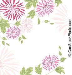 roze, bladeren, bloemen, achtergrond