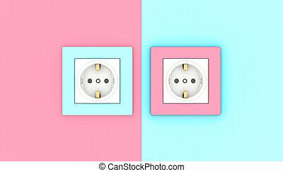 roze, blauwe , elektrisch, contactdozen