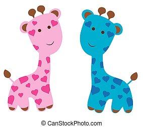 roze, blauwe , giraffes