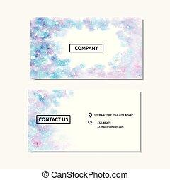 roze, blauwe , handel illustratie, watercolor, vector, kaart, design.