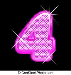 roze, bling, 4, girly, getal