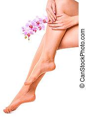 roze bloem, vrouwlijk, manicure, benen, orchidee