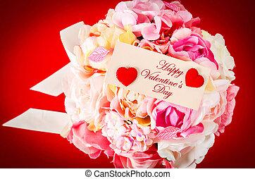 roze, bouquetten, rose., kaart, leeg
