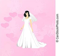 roze, bruid, beauty, achtergrond
