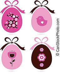 roze, bruine , set, &, ), (, eitjes, vrijstaand, retro, witte , pasen