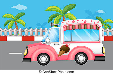 roze, bus, ijs