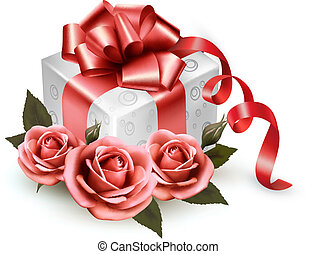 roze, cadeau, rozen, achtergrond, vakantie, box.vector