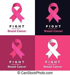 roze, cancer., tegen, vechten, vector, gevarieerd, borst, backgrounds., lint