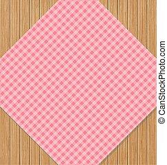 roze, checkered tafelkleed, op, bruine , eik, wooden table