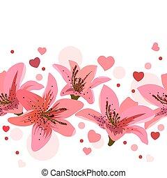 roze, cirkels, lelies, gemaakt, seamless, grens