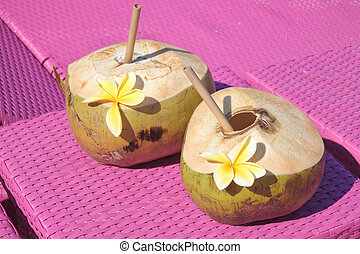 roze, cocosnoot, stoelen, drank, twee, stro, vruchten, fris, strand
