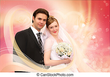 roze, collage, paar, trouwfeest