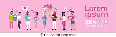 roze, concept, groep, mal, mensen, valentijn, kadootjes, achtergrond, vasthouden, vakantie, dag