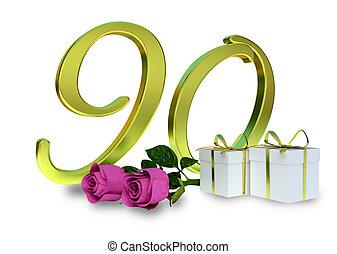 roze, concept, -, rozen, jarig, th, 90
