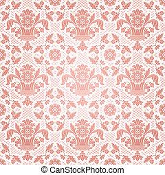 roze, decoratief, bloemen, kant, achtergrond