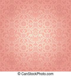 roze, decoratief, kant, achtergrond, mal, bloemen