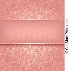 roze, decoratief, wallpaper., kant, achtergrond, bloemen