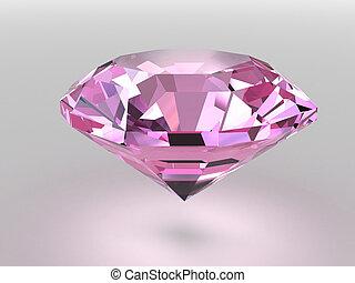 roze, diamant, met, zacht, schaduwen