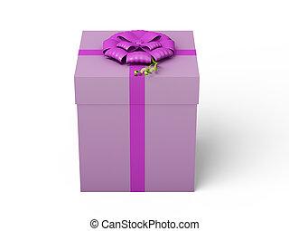 roze, doosje, lint, geschenk buiging