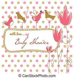 roze, douche, baby meisje, bloemen, vogels