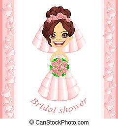 roze, douche, bridal, uitnodiging