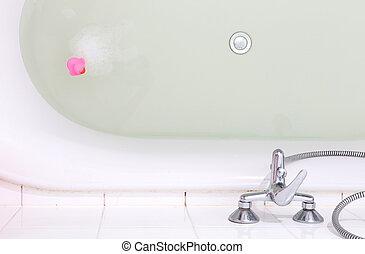 roze, eend, in, een, ligbad