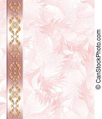 roze, elegant, trouwfeest, grens, uitnodiging