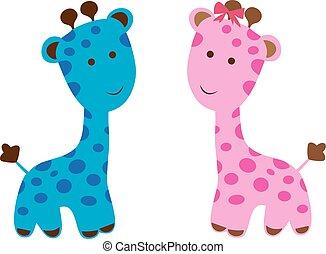 roze, en blauw, giraffe