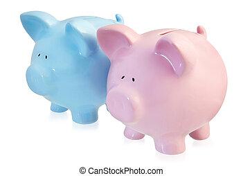 roze, en blauw, piggy helt