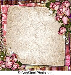 roze, en, paarse , ouderwetse , achtergrond, met, droog, rozen