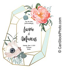 roze, eucalyptus, peony, tuin, takken, leaves., roos, elegant, invitation., vector, mal, trouwfeest, floral, anemoon