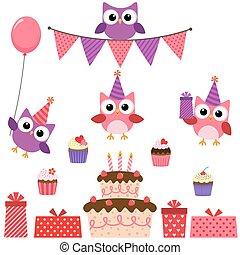 roze, feestje, set, uilen