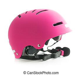 roze, fiets, helmet.