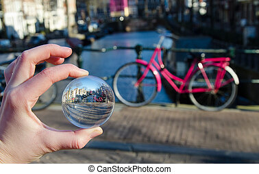 roze, fiets, in, amsterdam