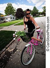 roze, fiets