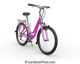 roze, fiets, -, vrijstaand, achtergrond, witte