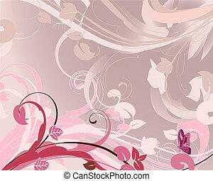 roze, floral, achtergrond