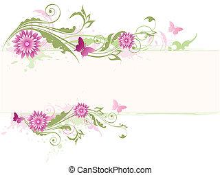 roze, floral, bloemen, groene achtergrond