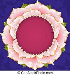 roze, floral, cirkel, frame