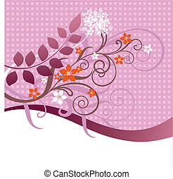 roze, floral, ornament, sinaasappel