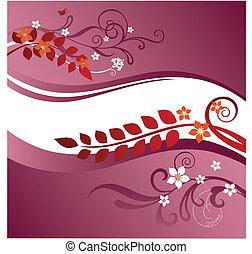 roze, floral, randjes, twee, rood