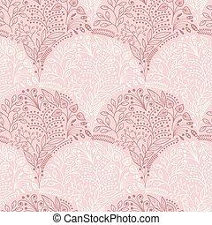 roze, floral, schalen, seamless, model
