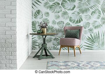 roze, floral, stoel, kamer